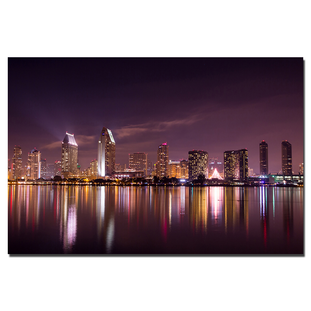 Home Decor Stores San Diego: DIY Frame Canvas Painting San Diego Cityscape Poster Wall