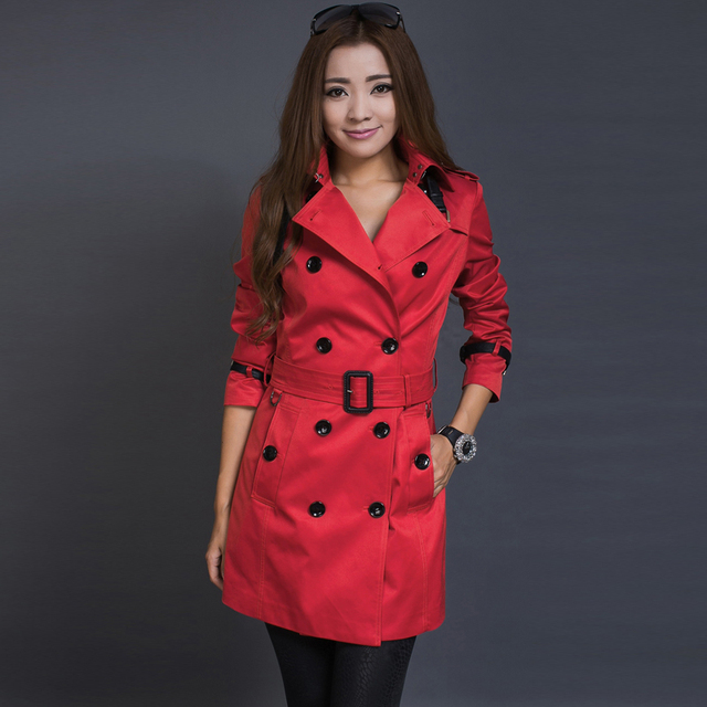 Trench outerwear female 2016 spring and autumn fashion patchwork PU trench plus size womens red trench coat  leather tie peacoat