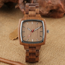 Coffee Brown Wooden Watch for Men Quartz Men's Wood Retro Square Dial Casual Full Wooden Bracelet Hour Clock reloj madera hombre men women wooden watch creative round shape dial light wood case genuine leather band bamboo wood clock male reloj de madera top