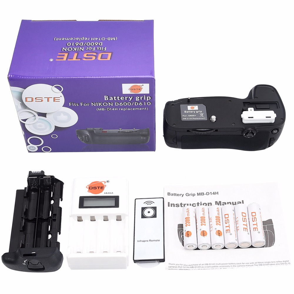 DSTE MB-D14H Battery Grip +Charger + 6 Rechargeable Batteries NI-MH AA Battery for Nikon D600 D610 Camera dste 3pcs sl 360 ni mh battery for spectralink pts360 9031 mdw9030p mdw9031 ptb400 ptb710 ptb810 ptb81650