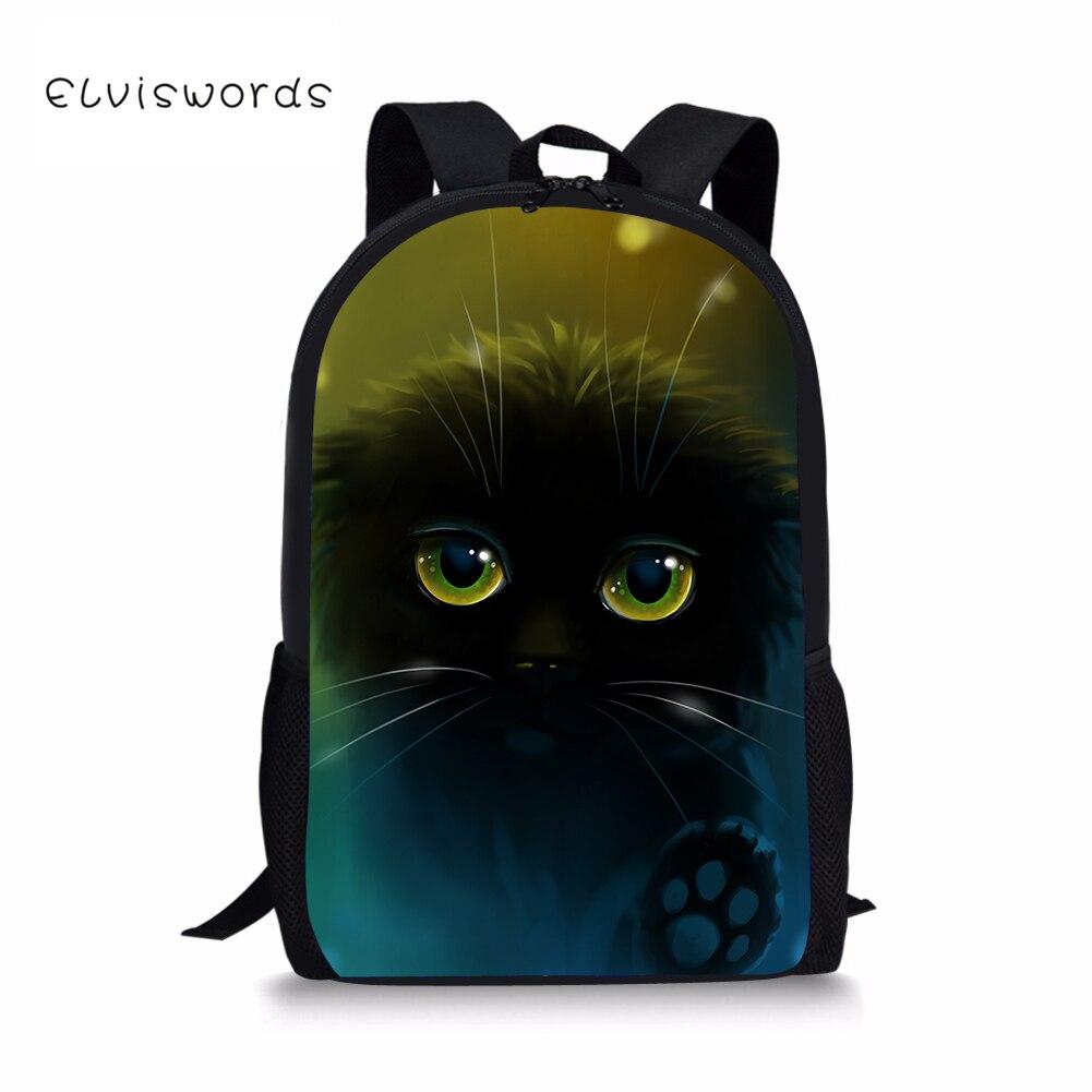ELVISWORDS School Bookbags for Teenagers Children Bags Unique Fashion Cute Cat Printing Unisex Mochila Feminina