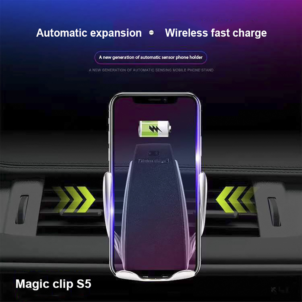 Auto Clamping Wireless Car Charger Air Vent Phone Holder 360 Degree Rotation