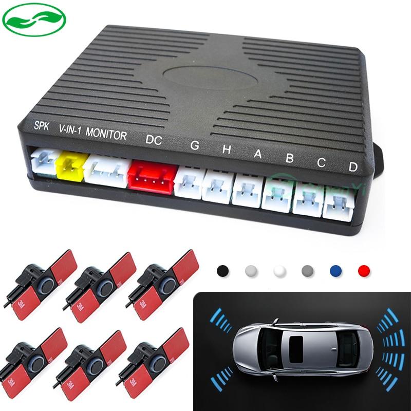 Dual Channel Car Video Parking Reverse Radar System 6 Sensor .