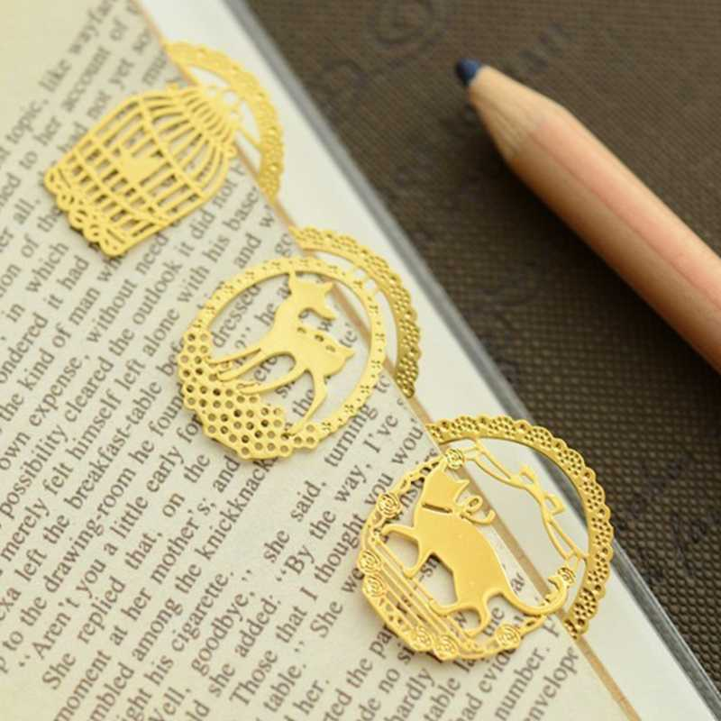 Emas Mengkilap Logam Bookmark Indah Pola Dekoratif Dekorasi Yang Indah