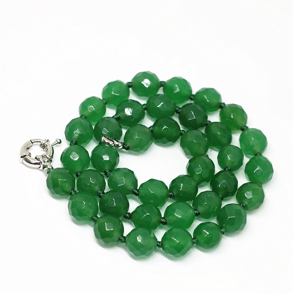 High grade green emerald jade faceted round beads chain necklace 8,10,12mm elegant women free shipping jewelry 18inch B1494
