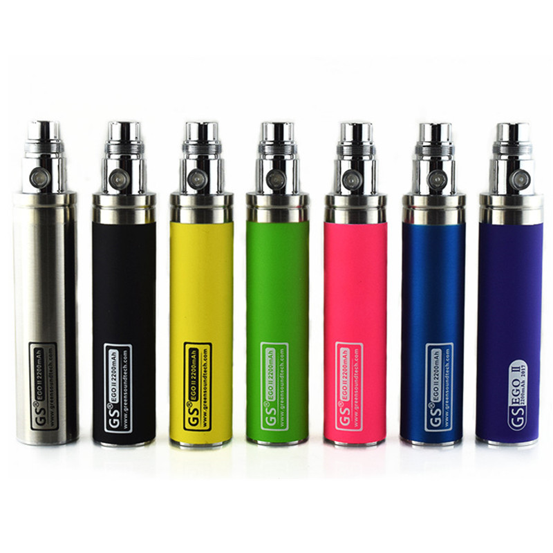 5pcs/lot New Colorful Muilt Color GS ego II battery 2200mah For e Cigarette Ego / 510 Wire Battery fit CE4 CE5 mt3 e cig