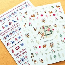 Newest HANYI-028 Deers design 3d nail stickers art Japan style decal decoration tools