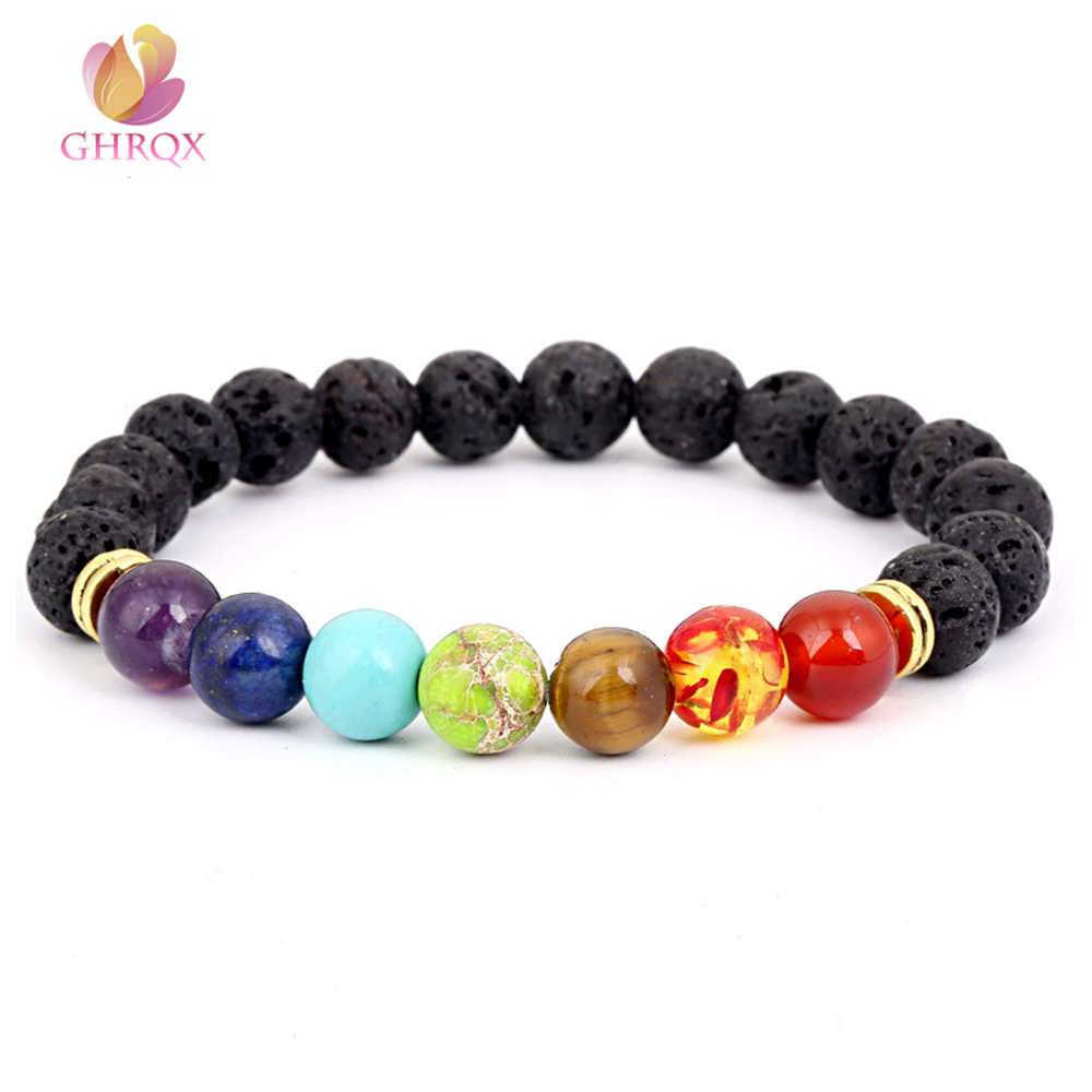 8mm Seven Chakras Natural Stone Beads Bracelets Yoga Bracelets energy lava stone chakra colorful beads bracelet