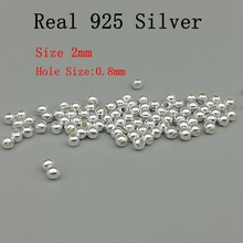 925 Твердое Стерлинговое Серебро, 100 шт./лот 2 мм круглые бусины из стерлингового серебра, серебряные ювелирные изделия