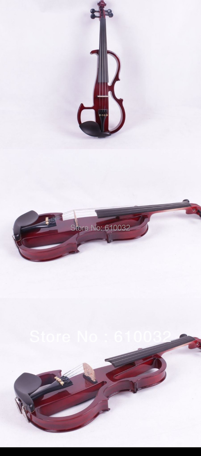 4/4 Electric Violin Solid wood 8 --18# dark red color 5 string 4 4 new 4 string electric acoustic violin solid wood nice sound brown color