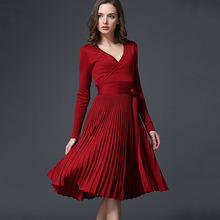 2017 Autumn Winter European Women Dress New Sexy Silm Long Sleeve V-Neck Party dresses Fashion Solid Dropped Pleated Dress women