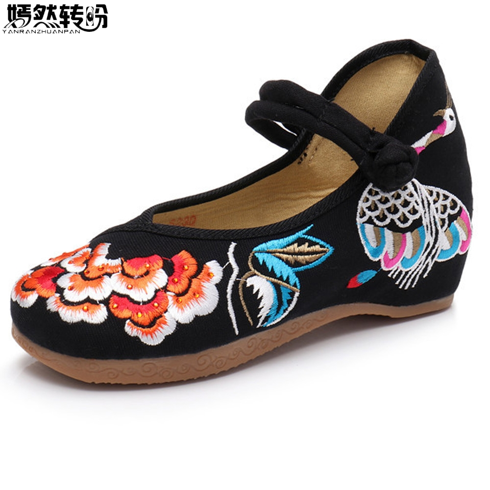 Vintage Women Pumps Retro Summer Embroidery Shoes Peacock Floral Cloth Canvas Wedges Dance Shoes Woman Platforms Zapatos Mujer