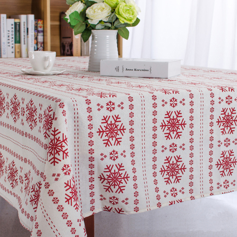 Christmas Snowflake Design Cotton Linen Tablecloth Printed Table Cover Customization Any Size Cloth Free Shipping In Tablecloths From Home Garden On