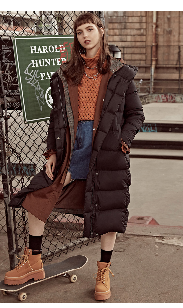 ONLY womens' winter new medium and long black down jacket Partial sill design Hooded collar|118312555 11