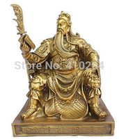 Chinese bronze brass Dragon Guan Gong/ Yu Reading book Statue Gold Color