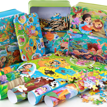 200Pcs/set Colorful Wooden Dinosaur Puzzle Toys Kids Educational Learning Baby Toy Stories Jigsaw Puzzles Children With Gift Box