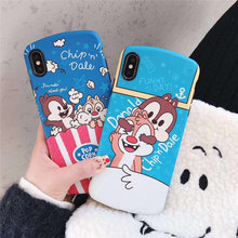 Cute Cartoon Chip n Dale Case For iPhone X XR XS Max 6 6S 7 8 Plus TPU Soft IMD Back Cover Pop Corn Donald Phone Bags Coque Capa