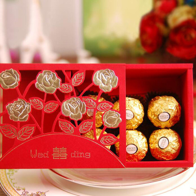 100pcs Chinese Wedding Candy Box Red Double Hiness Paper Rose Flower Blossom Hollow Out Chocolate Bag