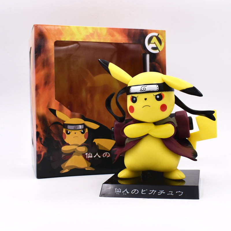 Pikachu Cosplay Naruto Anime PVC Action Figure Collection Model Children Toy Doll 12cm Christmas Gifts Free Shipping anime naruto cosplay weapon sword darts pedant 6pcs set for children christmas gifts