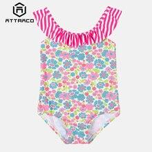 Attraco Baby Girls' One Piece Swimsuits Flower Print Swimwear Kids Ruffle Cute Bikini Beach Wear