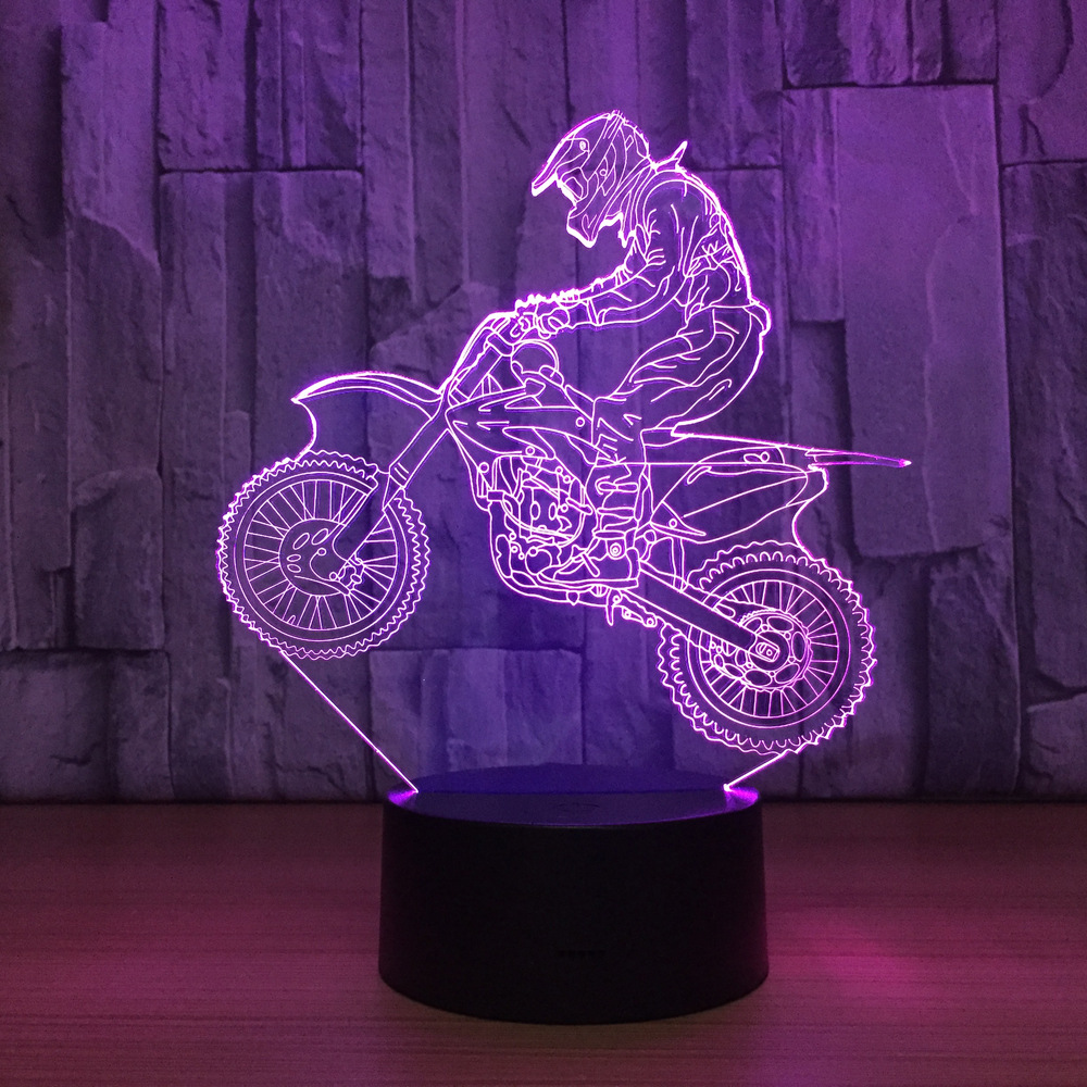 Novelty 3D Table Lamp 3D Motocross Bike Night Lights LED USB 7 Colors Sensor Desk Lamp as Holiday New Year Birthday Decor Gifts usb novelty gifts 7 colors changing animal horse led night lights 3d led desk table lamp as home decoration