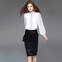 OL Temperament Shirt 2017 Brand Stringy Selvedge Lace Silk Blouse Luxury White Black Camisas Top Women Blusas Chiffon Plus Size