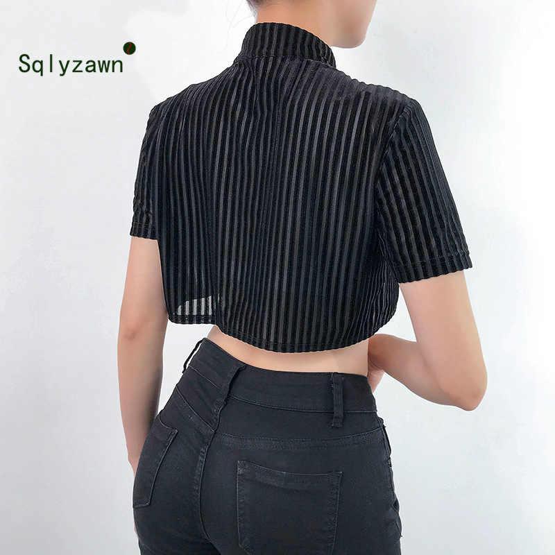 ヴィンテージ中国風のチャイナバックル作物 2019 ソフトベルベット夏の女性の半袖黒ダークタートルネック Tシャツ Tシャツ