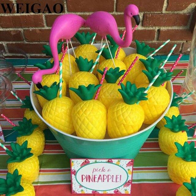 WEIGAO Фламинго тематическая вечеринка на день рождения украшения поставки ананас, кокос одноразовая посуда емкость для трубочек подстаканник посуда
