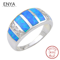 ENYA Authentic 925 Sterling Silver High Quatliy Blue Fire Opal Gems Ring Micro Pave CZ For