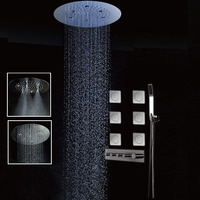 JMKWS LED Thermostatic Shower Head Set 20 Inch Round Big Rain Shower Body Jet Massage Mist