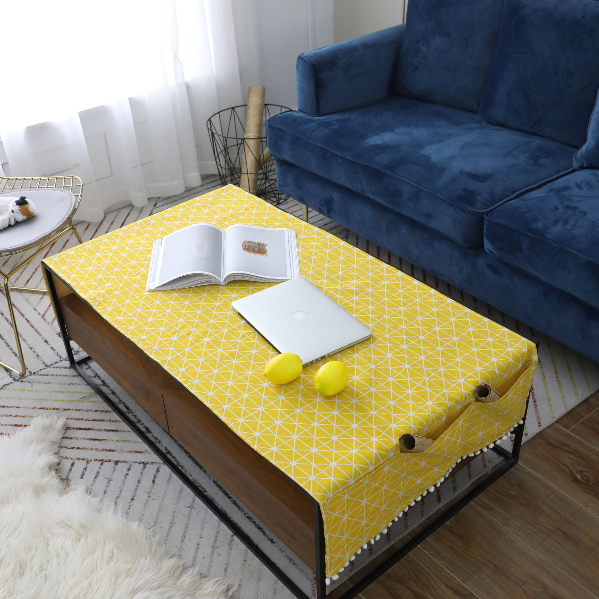 Yellow Board Grid Table Cloth with Three Pocket Ear of Wheat Nappe TV Bench Mantel Recta ...