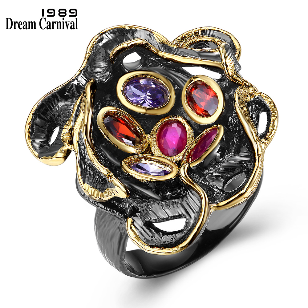 DreamCarnival 1989 Gift for Lover Hip Hop Fashion Jewelry Ring Fuchsia Purple Cubic DC1989 Anniversary Anillos Black Gold-Color dc1989 women gun