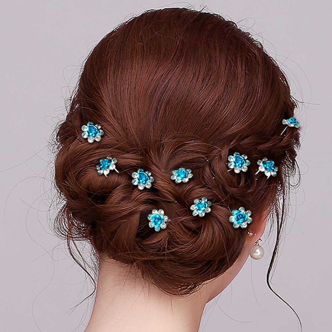 Bunga baru Naik Jepit Rambut Klip 1 Pcs Wanita Bridal Pernikahan Kristal Diamante Barrettes Tongkat Rambut Braider Styling Alat Aksesoris