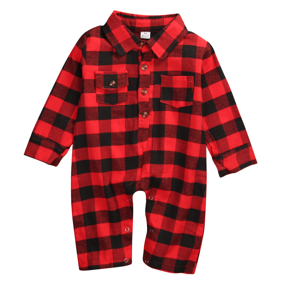 2017 New Infant Baby Romper Red Plaid Boys Girls Fashion Pocket Clothes Long Sleeve Cotton Jumpsuit puseky 2017 infant romper baby boys girls jumpsuit newborn bebe clothing hooded toddler baby clothes cute panda romper costumes