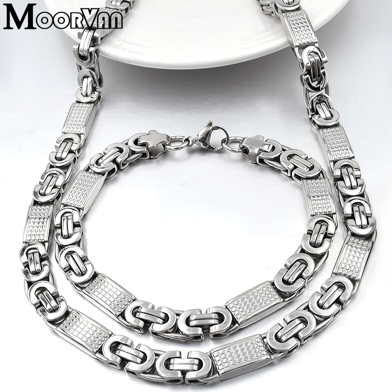 Moorvan <font><b>JEWELRY</b></font> <font><b>SET</b></font> <font><b>FOR</b></font> MEN GIFT <font><b>2019</b></font> COOL Silver Color CHAIN LINK NECKLACE <font><b>SET</b></font> BRACELET MAN FASHION STYLE,Square Shaped VJS002 image