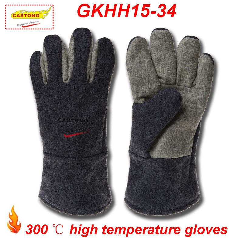 CASTONG 300 degrees High temperature gloves Anti-scald Insulation fireproof gloves oven barbecue welding megathermal work gloves цена