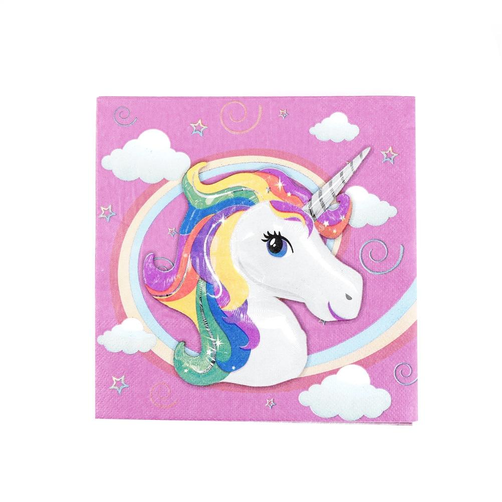 20pcs Unicorn Napkins Unicorn Paper Napkins Baby Shower Tissue Kids Birthday Wedding Party Decoration Supplies