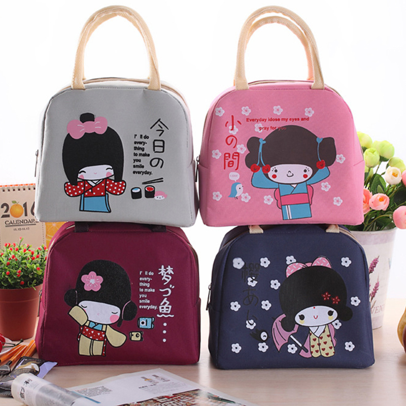 Yesello Cartoon Little Girl Portable Lunch Bag Canvas Cooler Bags Thermal Food for Picnic Kids Handbag cute cartoon women bag flower animals printing oxford storage bags kawaii lunch bag for girls food bag school lunch box z0