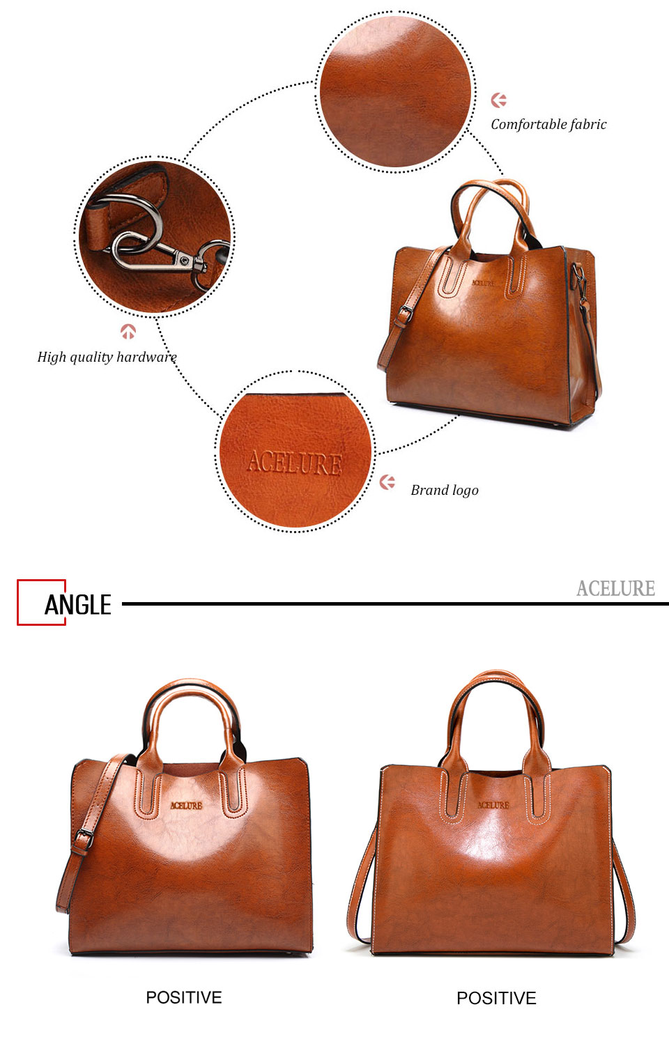 ACELURE Leather Handbags Big Women Bag High Quality Casual Female Bags Trunk Tote Spanish Brand Shoulder Bag Ladies Large Bolsos 12