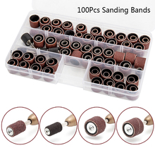 100PCS Drum Sanding Kit +4Pcs Band Mandrel  Rotary Tool Nail Drill Bits Abrasive Tools Sander Accessories