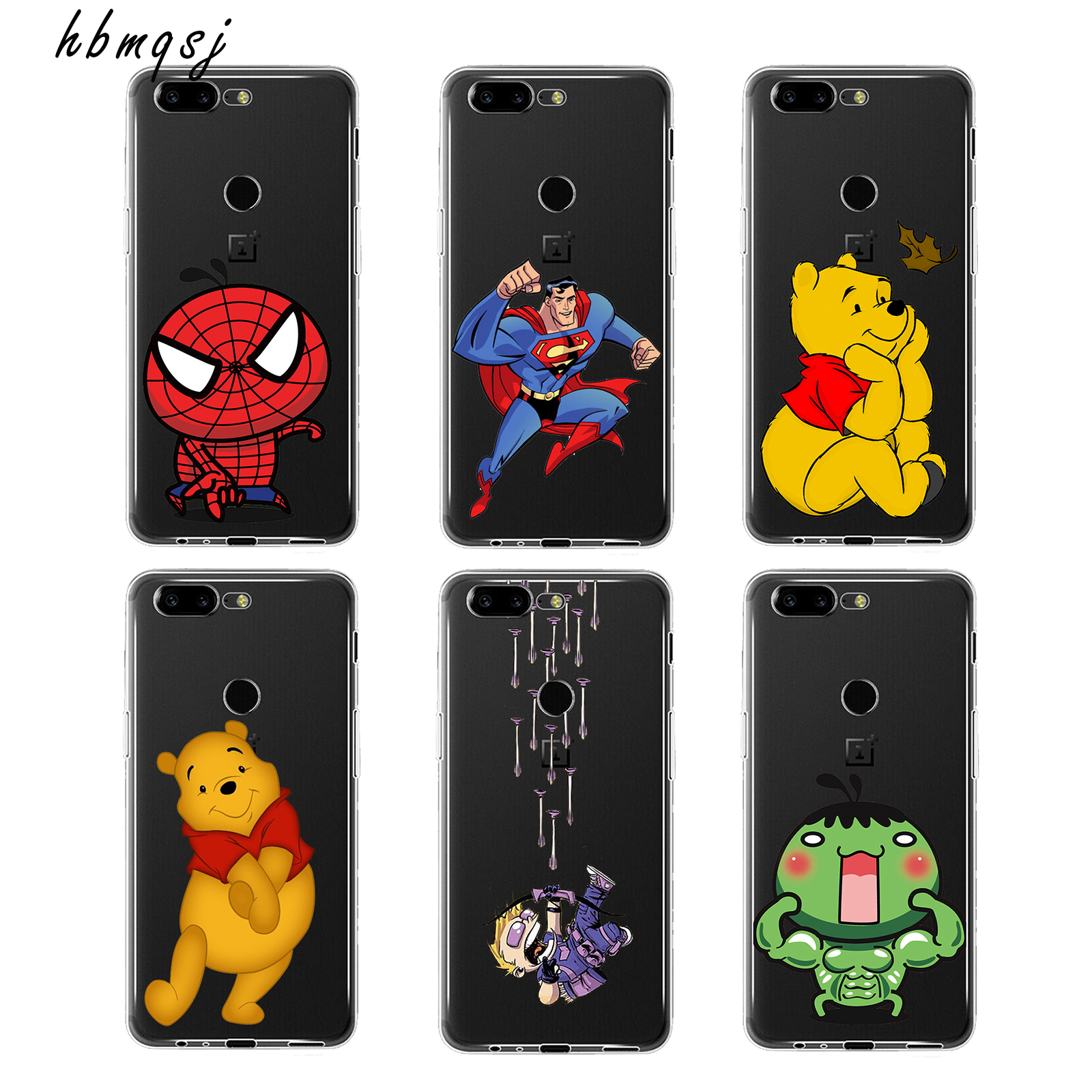 Fashion for oneplus 5t 5 t case silicone tpu soft cover cartoon bear cool spiderman cute cartoon design armor Funny style case