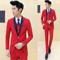 2017 para hombre de algodón boutique de moda vestido de traje de boda del novio esmoquin/Masculina de un solo botón trajes de ocio Blazer blanco negro chaquetas rojas