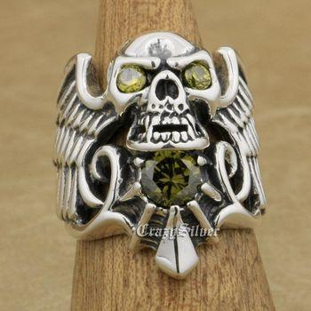 Devil Wing Skull CZ Eyes 925 Sterling Silver Mens Biker Rocker Punk Ring 9M113 US Size 7~13