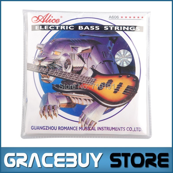 Electric Bass String Alice 4-string Set ( 045 - 105 ) Steel Core Nickel Plated Alloy Wound - A606(4)-M encordoamento 4pcs 990l electric bass guitar string 045 090 strings for electric bass with colored box