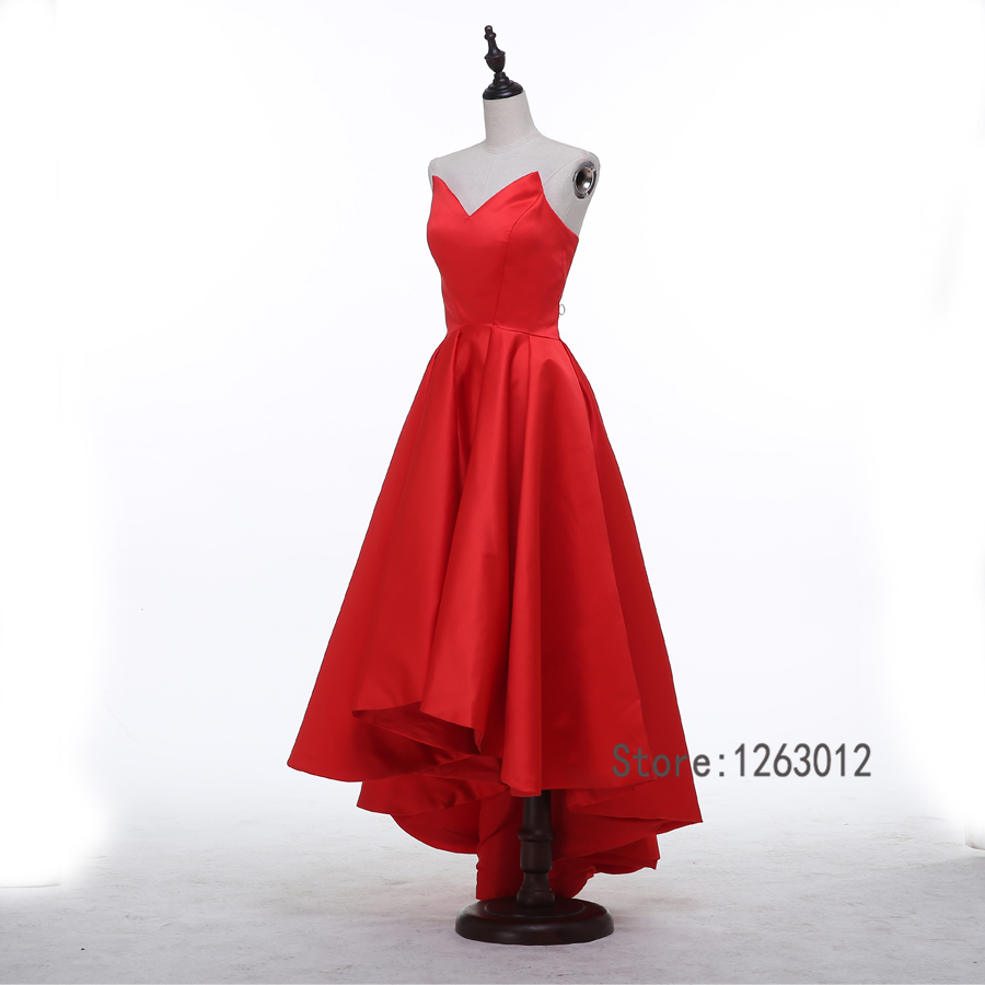 Strapless matte satin high low hot red prom dresses simple style strapless matte satin high low hot red prom dresses simple style fit for party dresses evening gowns in prom dresses from weddings events on ombrellifo Choice Image