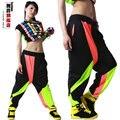 La manera A Estrenar Harem Hip Hop Danza Pantalones Pantalones Deportivos Trajes desgaste del funcionamiento de la etapa femenina harén pantalones de Neón del jazz