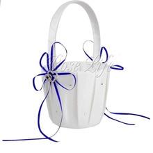 Королевский синий для девочек в цветочек корзины для свадебной корзина невесты лепесток корзины Свадебные аксессуары