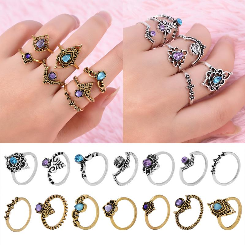 Finger Jewelry New Fashionable Hollow Out Rings Female Women Lady Girls Finger Rings Kit Lovely Bow Rings
