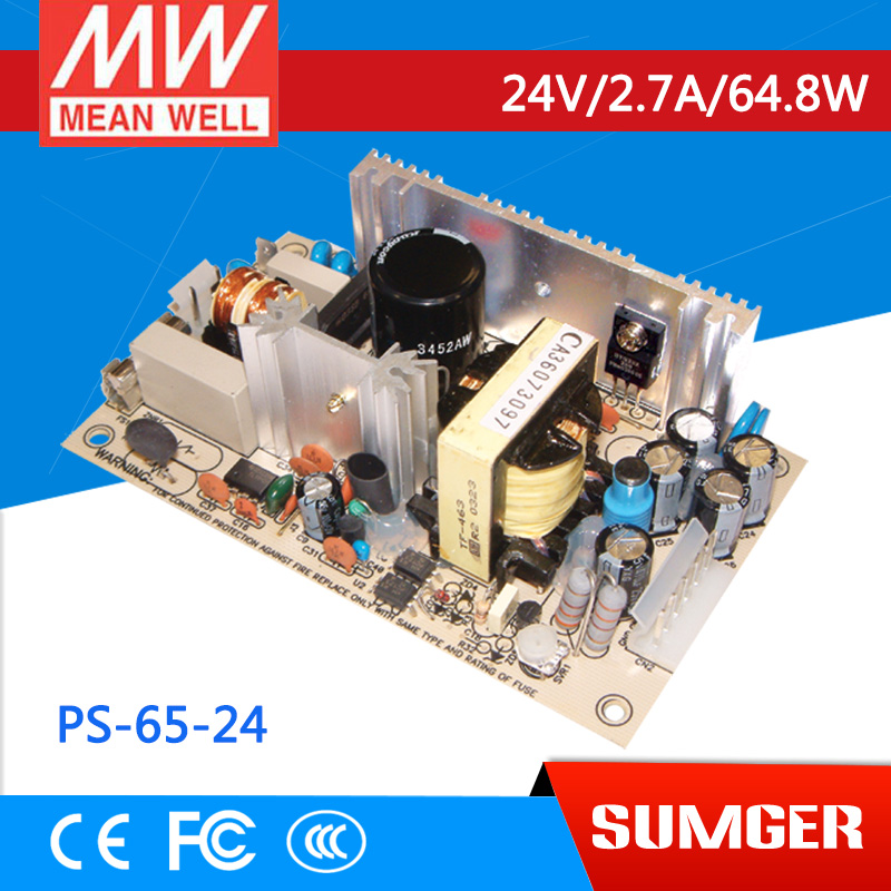 ФОТО [Freeshiping 2Pcs] MEAN WELL original PS-65-24 24V 2.7A meanwell PS-65 24V 64.8W Single Output Switching Power Supply