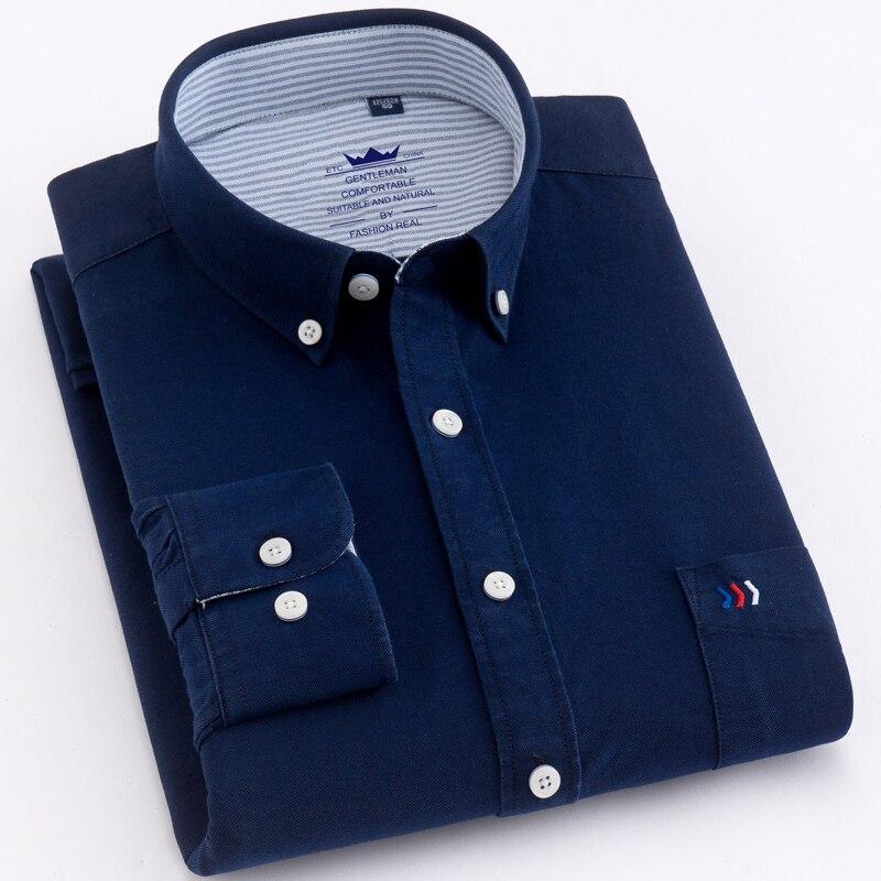 Hommes de Manches Longues Régulière Fit Oxford Robe Chemises Simples Avant Poche poitrine 100% Coton Smart Casual Male Tops Bouton Vers Le Bas chemise